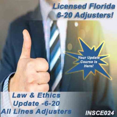 Florida: 11 hr CE Course Package includes 5 hr CE 5-620 and  3-24c Law & Ethics Update for All Lines Adjusters -plus  6-hours of General Elective credits